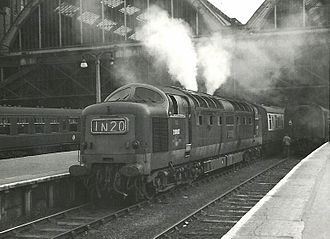Diesel exhaust - Class 55 Deltic diesel locomotive with their characteristic dense exhaust when starting a train