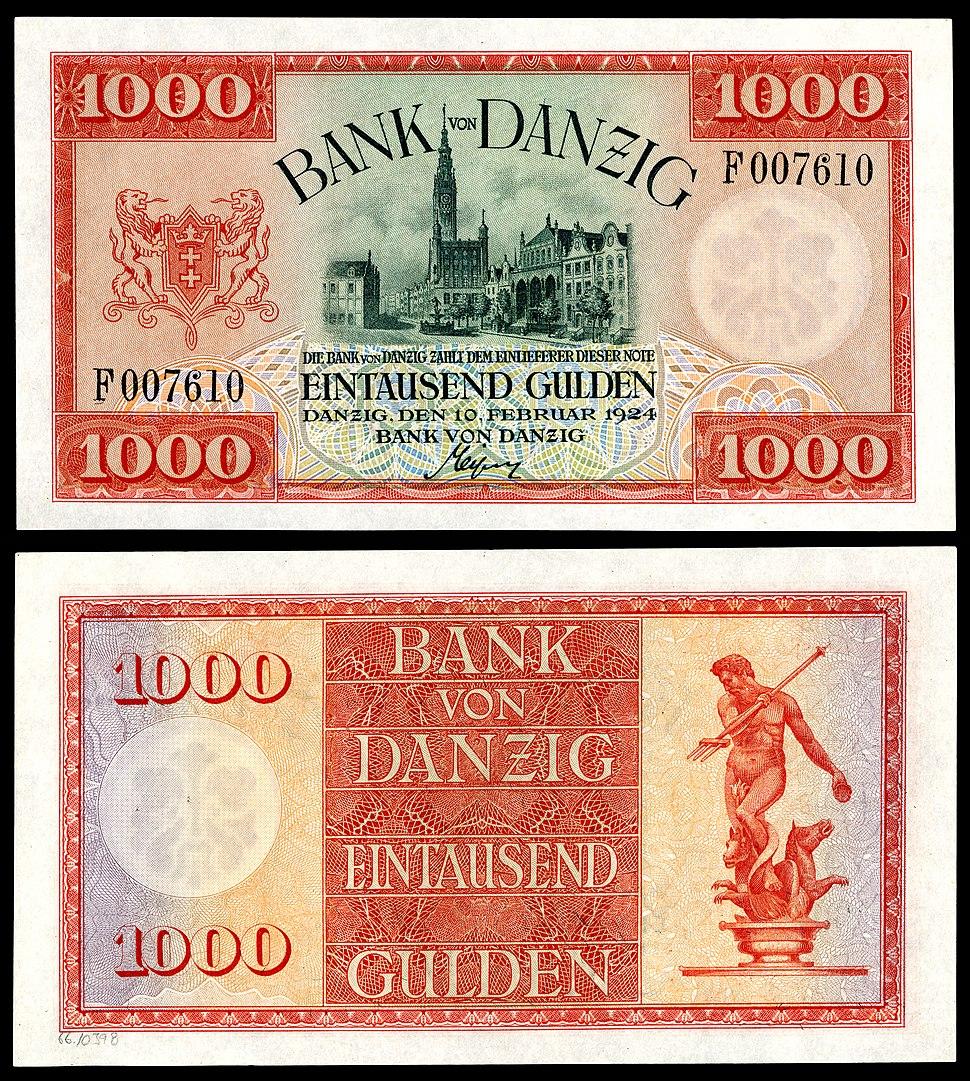 1,000 Danzig gulden (1924) depicting City Hall