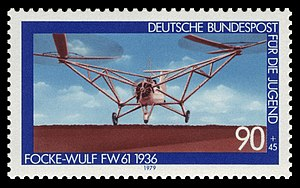Focke-Wulf Fw 61 - Fw 61 on a Deutsche Bundespost postage stamp, 1979