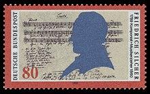 200. Geburtstag von Friedrich Silcher: Sonderbriefmarke der Deutschen Bundespost von 1989 (Quelle: Wikimedia)