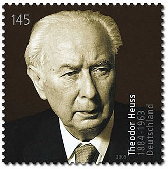 Theodor Heuss - President Heuss on a 2009 German stamp