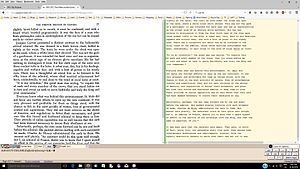Distributed Proofreaders Canada - Proofreading software showing original text on left and edited text on the right.