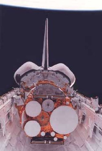STS-51-J - Declassified picture showing the DSCS-III satellites before deployment.