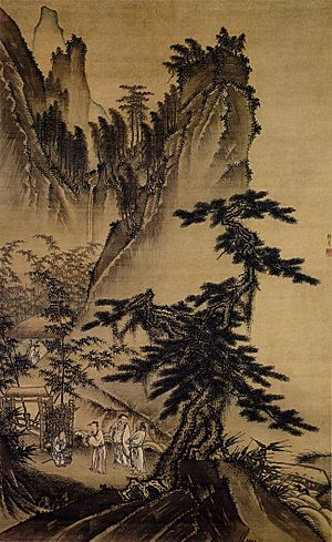 Romance of the Three Kingdoms - Liu Bei recruiting Zhuge Liang, from Visiting the Thatched Hut Three Times, a Ming dynasty painting by Dai Jin (1388-1462).