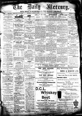Daily Mercury - Front page of the Daily Mercury, 31 January 1906