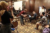 Daniel Bogre Udell interviewing Javanese Wikimedian at Wikimania 2018, Cape Town (43688730201).jpg