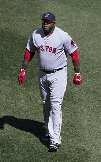 Logos and uniforms of the Boston Red Sox - David Ortiz wearing the current Red Sox road uniforms.