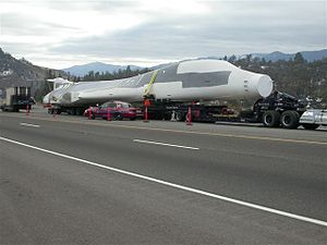 Rockwell B-1 Lancer - A dismantled decommissioned B-1 being transported by flatbed truck