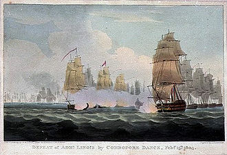 Linois's expedition to the Indian Ocean - Defeat of Adml. Linois by Commodore Dance, Feby. 15th. 1804, Engraving by William Daniell