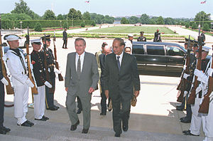 Abdul Sattar (diplomat) - Sattar arriving to meet US Defense Secretary Donald Rumsfeld, 2001.