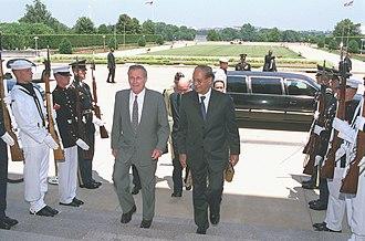 Abdul Sattar (diplomat) - Sattar arriving to meet US Defense Secretary Donald Rumsfeld, 2001.
