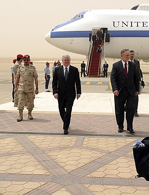 King Khalid International Airport - The US Secretary of Defense Robert Gates walks with U.S. Ambassador to Saudi Arabia James Smith after arriving at King Khalid International Airport.