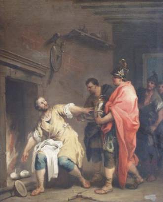 Manius Curius Dentatus - Curius Dentatus refusing wealth in favour of a turnip, as depicted by Jacopo Amigoni
