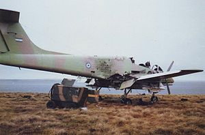Destroyed Argentine Pucara aircraft Pebble Island 1982.jpg