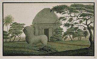 The old stone monument at Mahabalipuram near Madras