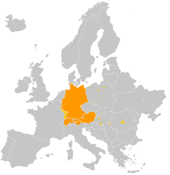 Orange: Amtssprache; gelb: Verkehrssprache