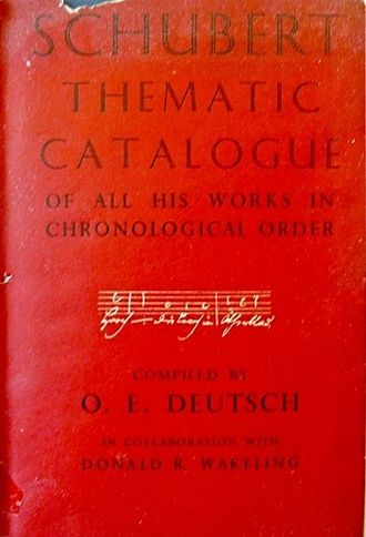 Schubert Thematic Catalogue - Deutsch Catalogue, first edition 1951