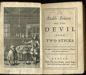 Alain-René Lesage - Frontispiece and titlepage of a 1708 English edition of The Devil upon Two Sticks, aka Le Diable boiteux.