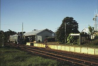 Hervey Bay (Urangan) railway line - Railmotor 1901 at Pialba Station circa 1989