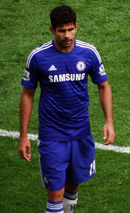 Diego Costa played two friendlies for Brazil in 2013, before switching allegiances to Spain Diego Costa 2014.jpg