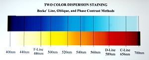 Dispersion staining - Chart 1: These are the dispersion staining colors associated with different matching wavelengths when using any of the methods that generate a color pair.