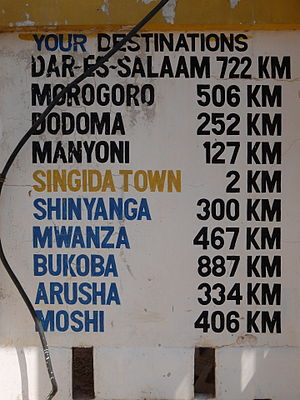 Singida (town) - Distance from Singida Town to other cities in Tanzania.