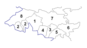 Districts of Kyrgyzstan - Image: Districts of Jalal Abad Province (numbered)