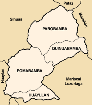 Pomabamba Province - Map of the Pomabamba province showing its districts