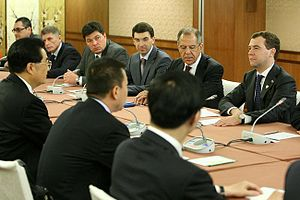Sino-Russian relations since 1991 - Meeting between Dmitry Medvedev and Hu Jintao at the 2009 APEC Summit.