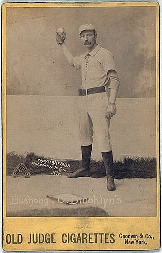Doc Bushong - Image: Doc Bushong baseball card from 1888 Old Judge Cigarettes