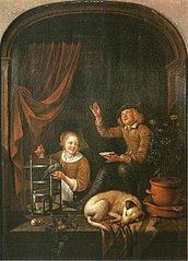 A Boy and a Girl in a Window with a Dog