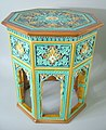Doulton Lambeth Conservatory table, 18.5 ins., coloured glazes majolica, c. 1870, Indian subcontinent in style, a reminder of Empire.jpg