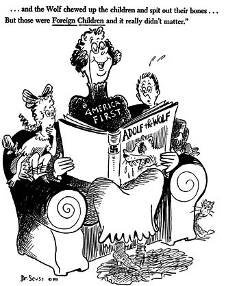 America First Committee - A Dr. Seuss editorial cartoon from early October 1941 criticizing America First