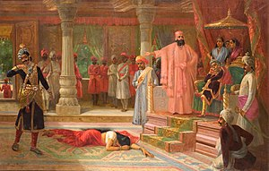 Virata Parva - Maid Sairandhri (Draupadi) is humiliated in Virata's court by Kichaka (left) in the last month of the 13th year. Bhima kills Kichaka.