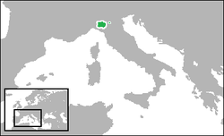 The Duchy of Parma and Piacenza (green).