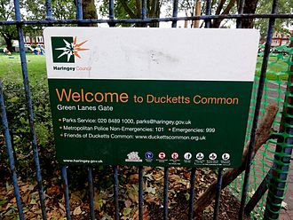 Parks and open spaces in the London Borough of Haringey - Park signage placed by Haringey council