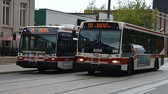 Dufferin Gate Loop - 29 Dufferin and 193 Exhibition Rocket buses northbound