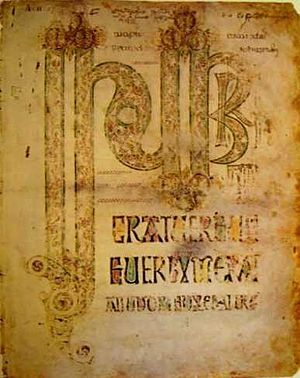 Durham Gospels - The Incipit page to the Gospel of John.