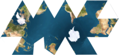 Dymaxion map wikipedia this icosahedral net shows connected oceans surrounding antarctica gumiabroncs Choice Image
