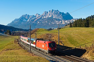 Salzburg-Tyrol Railway - EC 163 Transalpin passes the Kaiser Mountains.