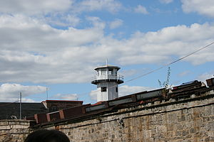 A guard tower at Eastern State Penitentiary.