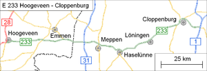 European route E233 - Image: E 233 Hoogeveen Cloppenburg