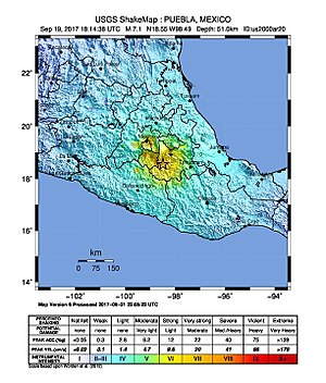 2017 Central Mexico earthquake - Image: Earthquake 5 km ENE of Raboso, Mexico, 2017