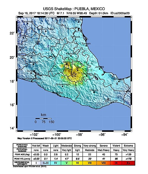Earthquake 5 km ENE of Raboso, Mexico, 2017