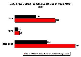 Numero dei casi noti e dei decessi durante l'epidemia di Sudan ebolavirus tra il 1976 e il 2003