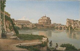 Udsigt over Tiberen fra Trastevere mod Engelsborg og Ponte San Angelo