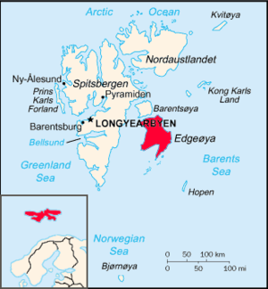 Edgeøya - Location of Edgeøya in Svalbard