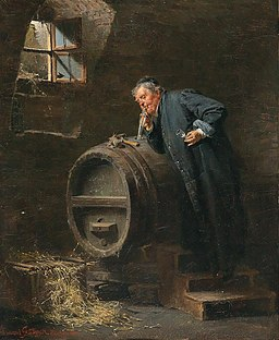 Eduard von Grützner - A monk in a wine cellar with a wine siphon