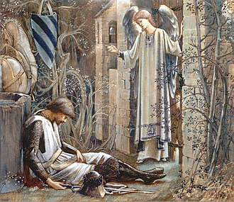 Lancelot - The Earthly Paradise (Sir Lancelot at the Chapel of the Holy Grail) by Edward Burne-Jones (1890s)