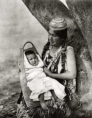 Hupa - Hupa mother and infant, ca. 1924, photo by Edward Curtis